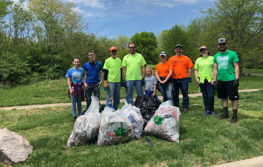 Miller Engineering team at stream clean-up
