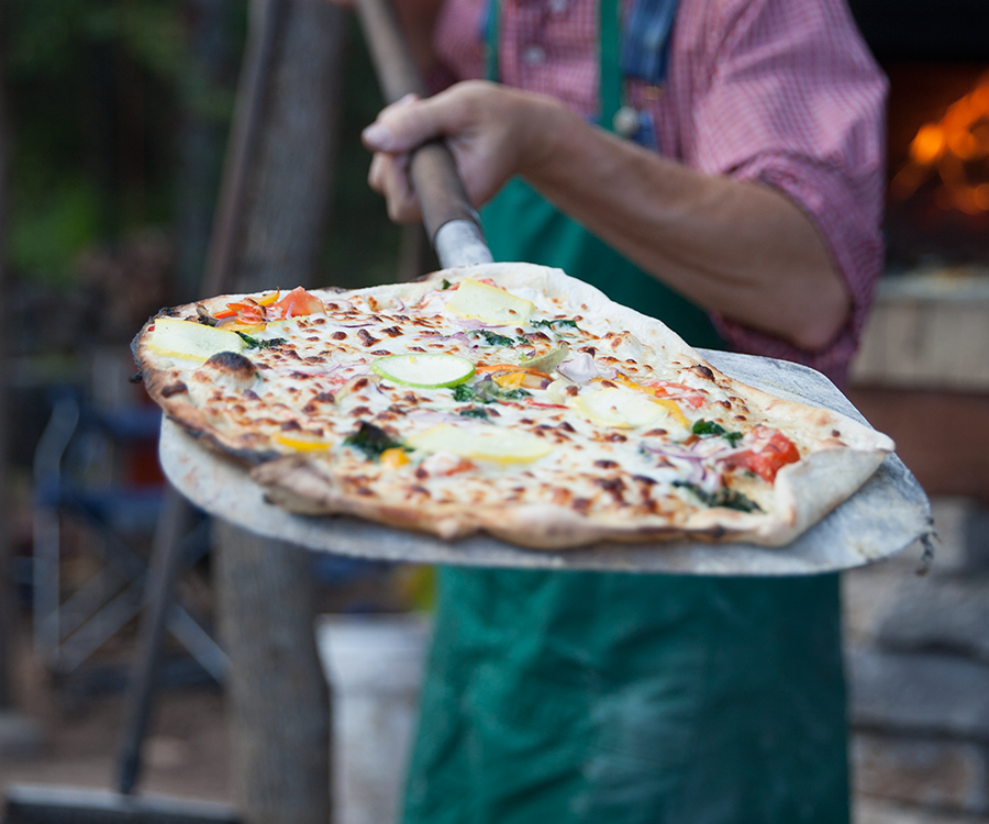 Pizza fresh from the oven at Millsap Farms Pizza Night.