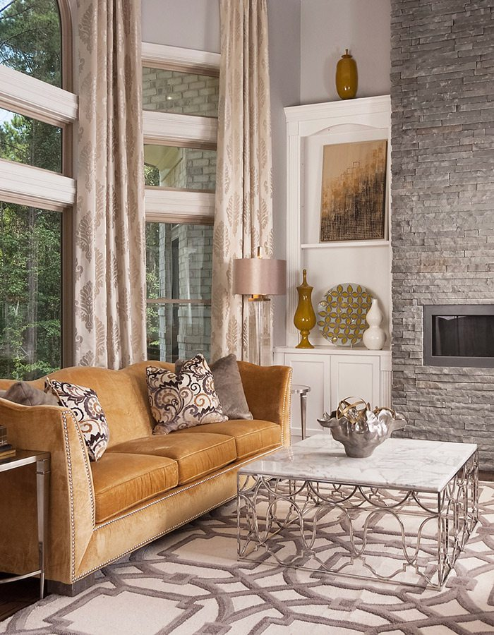 This beautiful living room in Springfield MO incorporates a mixture of metals.