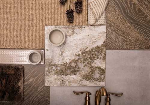 warm neutral tile and carpet samples for the home