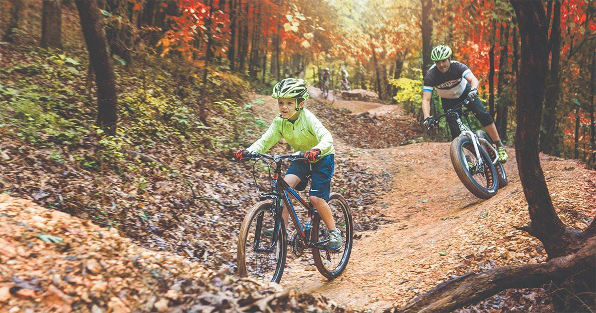 Mountain biking the in the fall