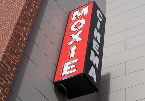 Moxie Cinema exterior sign in downtown Springfield MO