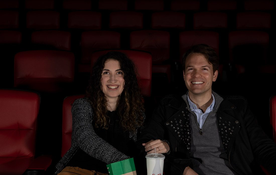 Couple at Moxie cinema
