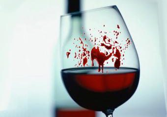 wine glass with blood on it