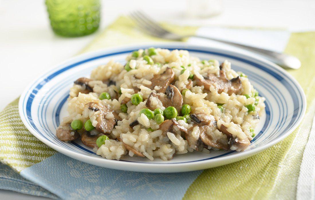 Mushroom and pea risotto