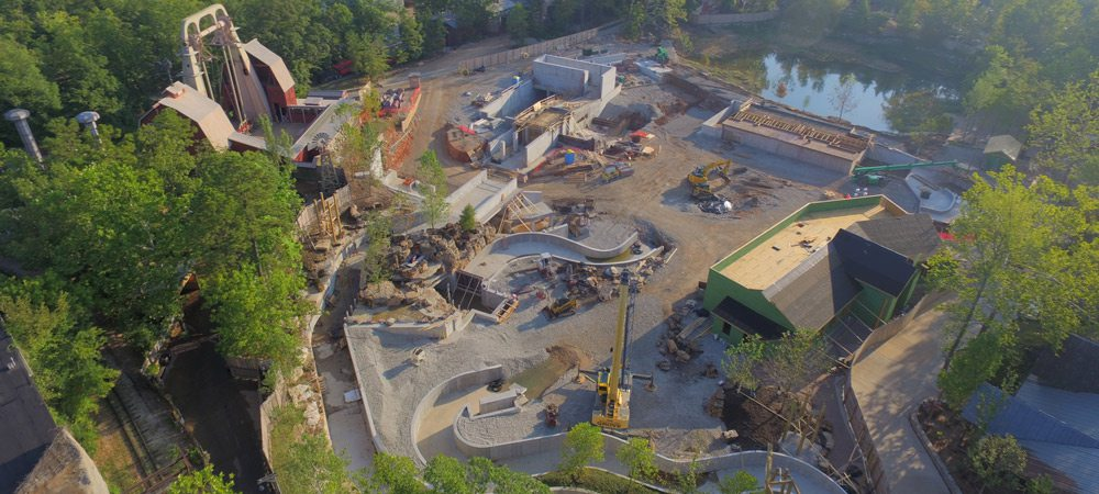 Aerial view of Mystic River Falls construction