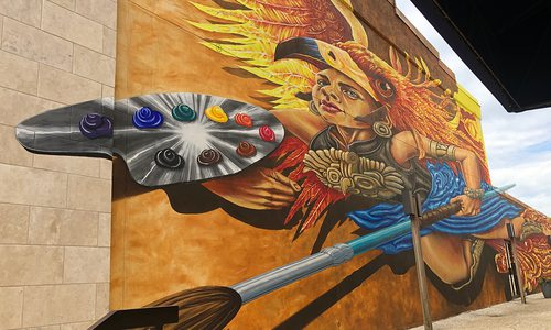 Athena mural located outside Fenix Fayetteville Art Gallery