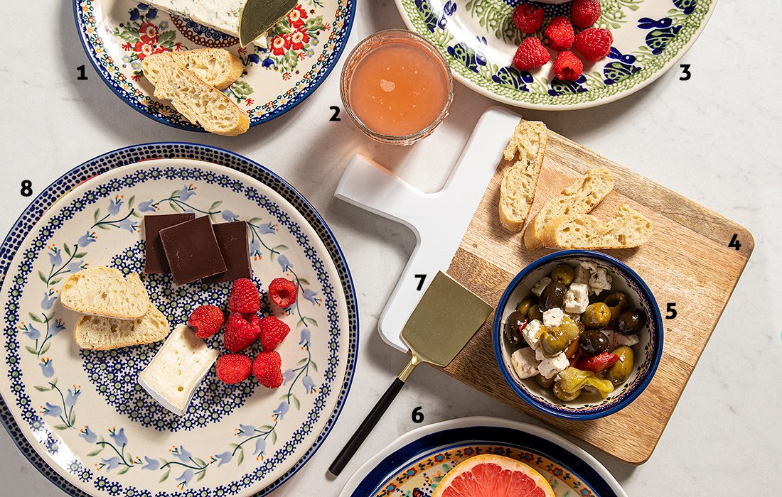 Mix of patterned plates at brunch