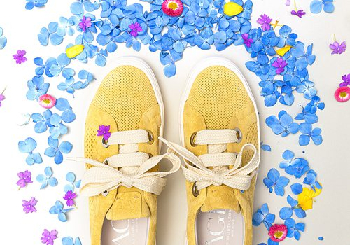 Yellow suede sneakers from Harem & Co in Springfield MO