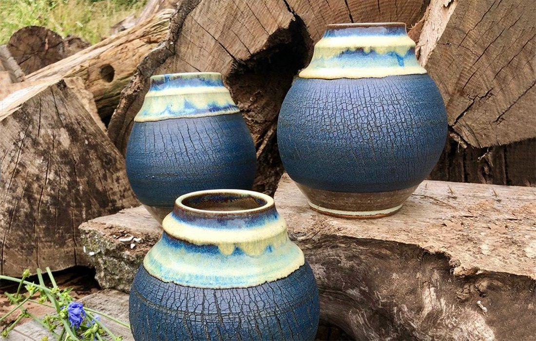 Handmade ceramic vases by Neisha Whitaker of Little Bird Studios in southwest Missouri