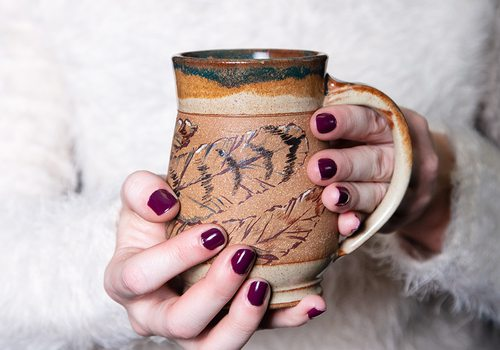 Handmade ceramic mug by Neisha Whitaker of Little Bird Studios in southwest Missouri