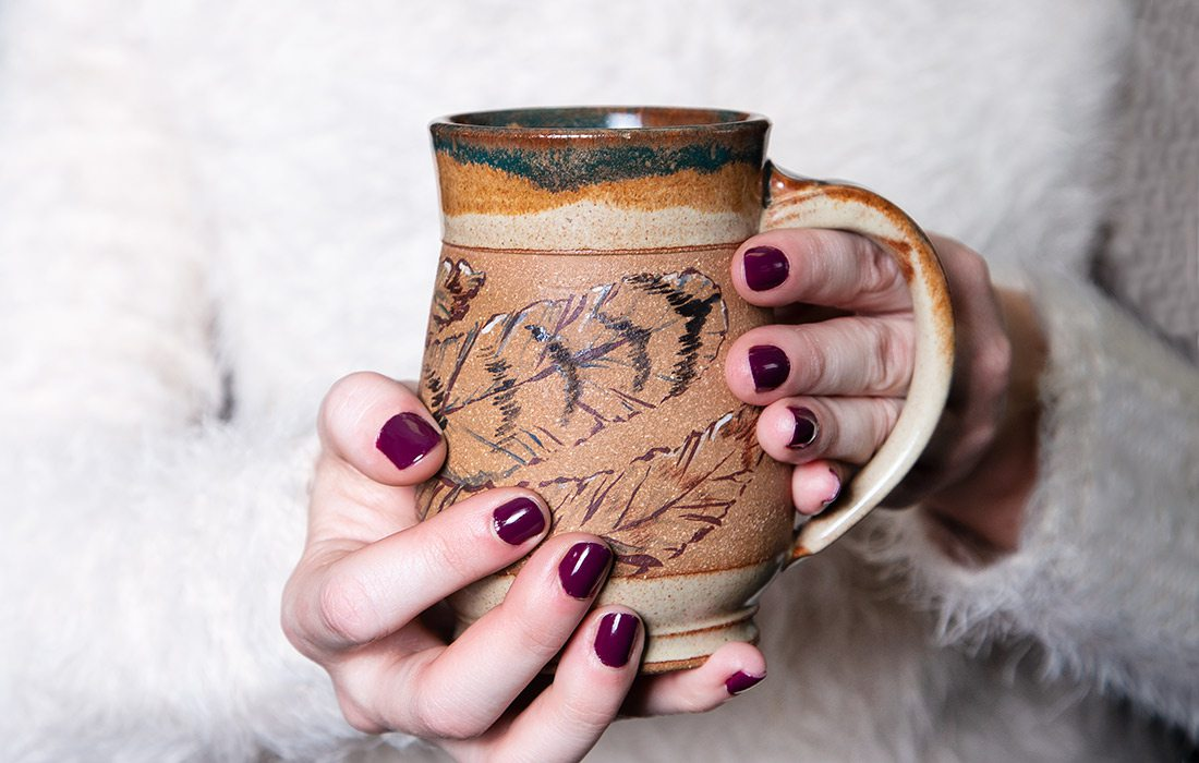 Handmade ceramic mug by Neisha Whitaker of Little Bird Studios in southwest Missouri