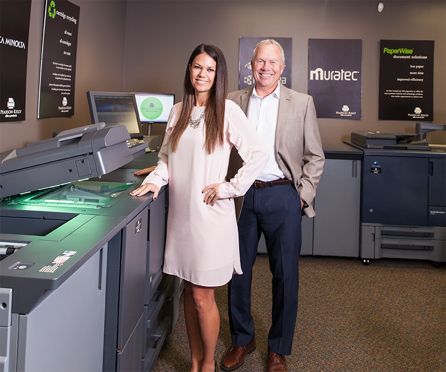 Chelsey Bode and Mike Kelly of Pearson-Kelly Office Products