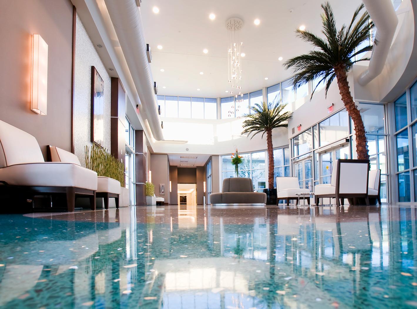 tropical hotel lobby