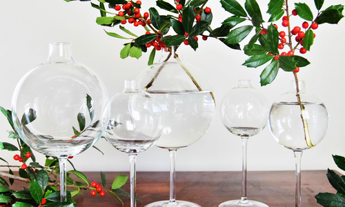 glasses and christmas decor