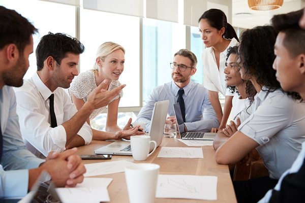 Meeting in office stock image