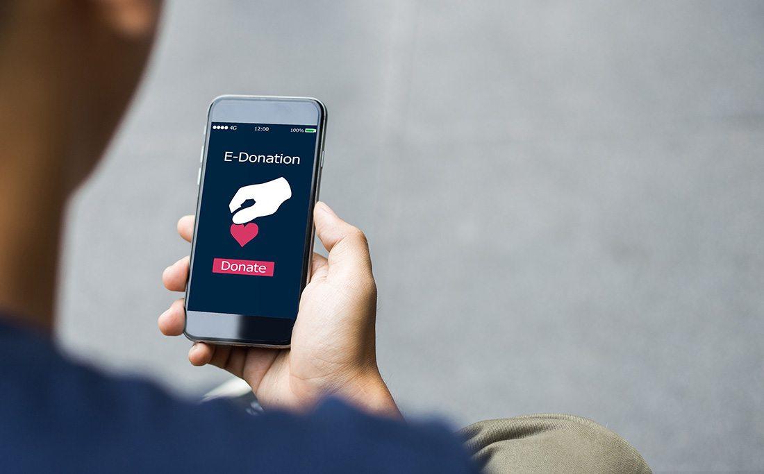 Man donating via online