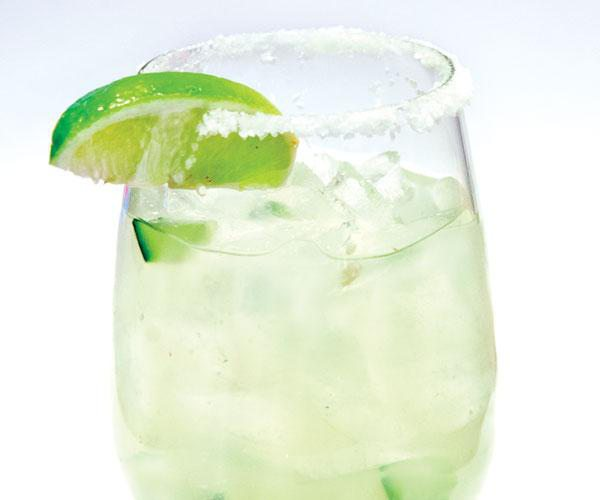 Cucumber margarita with lime and salt rim