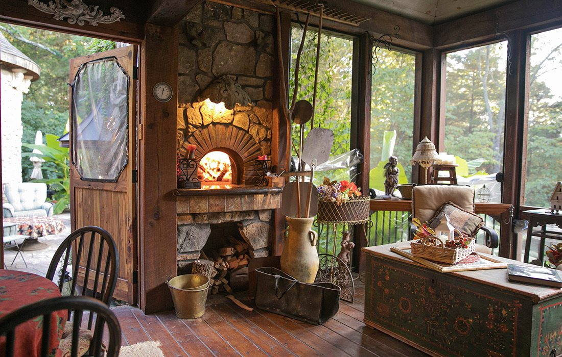 Sunroom with wood fire pizza oven | Hill Home Springfield MO