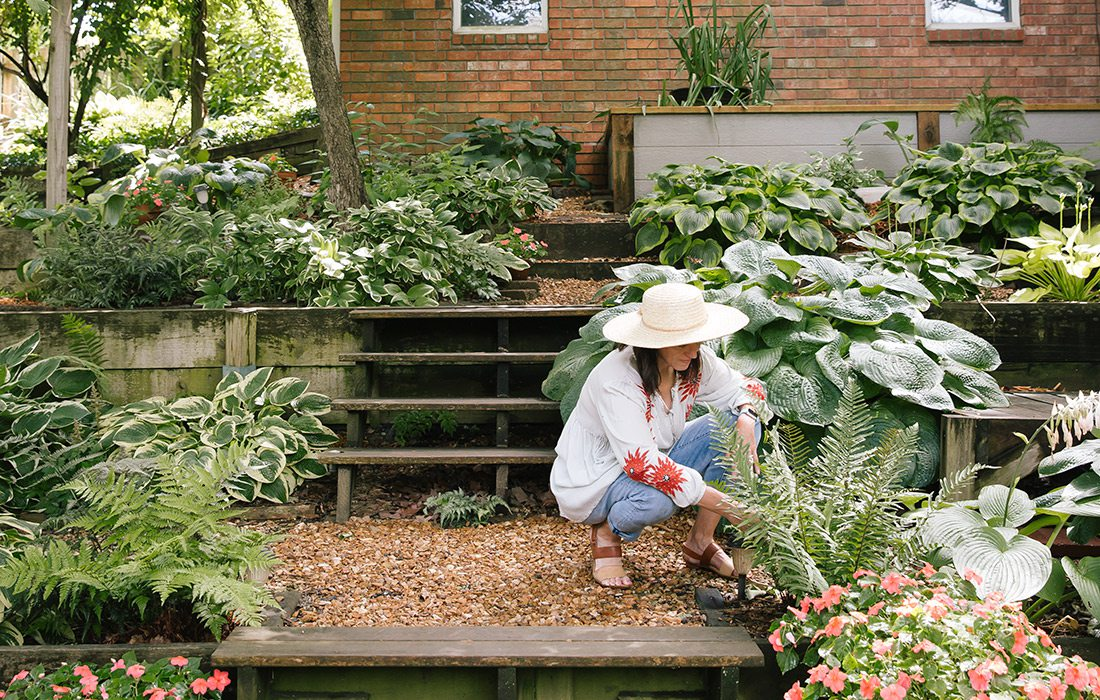 Kelly Harman in her hosta garden in Springfield MO