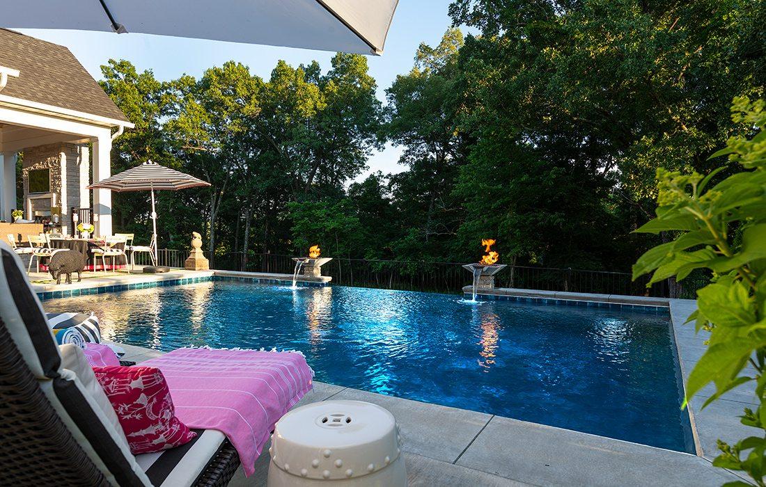 Backyard pool with vanishing waterfall Springfield MO