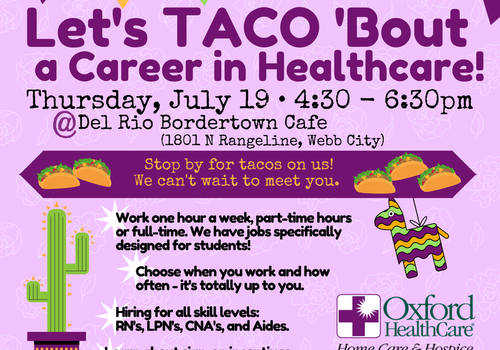 Oxford HealthCare Hiring Event: Let's TACO 'Bout a Career in HealthCare!