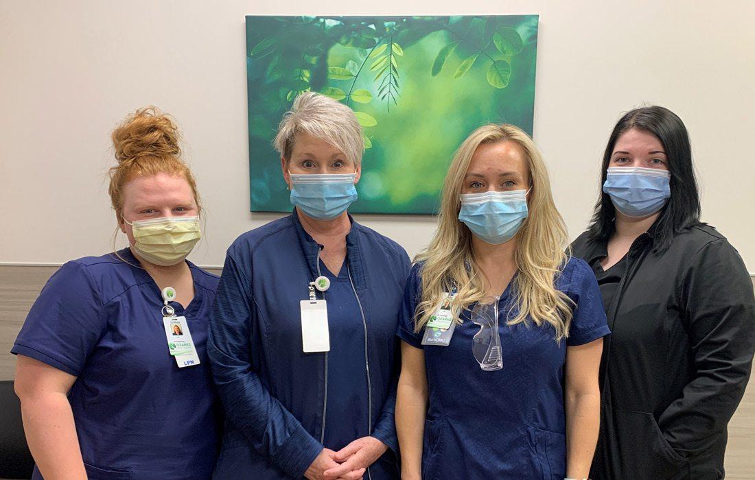 Lindsay Pankey, LPN; Kathy Stone, LPN; Amy Vonallmen, LPN; Kayla Perry, Office Assistant
