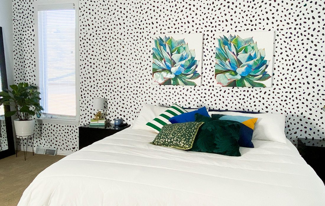 leopard print painted bedroom wall