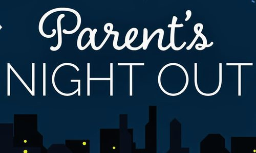 parents night out logo with city skyline