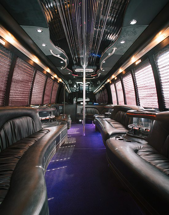 Interior of a party bus by The Party Bus Kings in Springfield MO