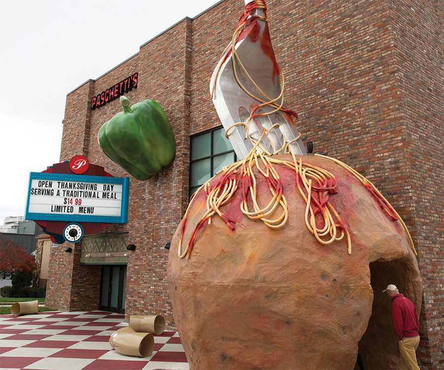 Giant meatball with fork in it on the Branson strip