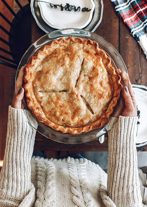 Mackenzi Pitman holds a homemade chicken pot pie