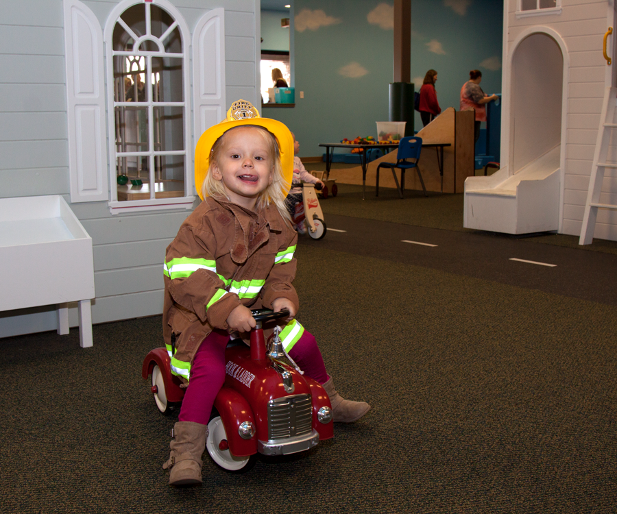 Adeline Brown save the day as a firefighter in Itty Bitty City.