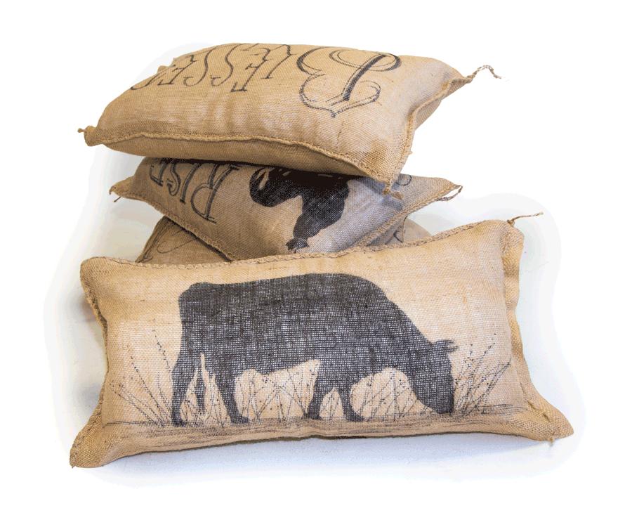 Each custom design is hand drawn on burlap pillowcases.