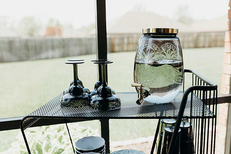 refreshments on an outdoor patio