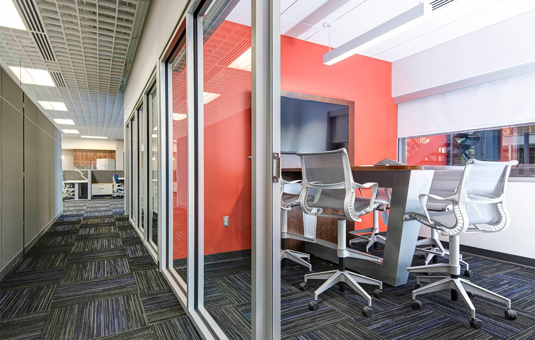 conference room with orange wall