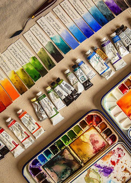Paints in an artists studio