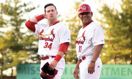 Coach Jobel Jimenez and John Nogowski of the Springfield Cardinals