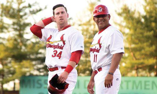 Coach Jobel Jimenez and John Nogowski of the Springfield Cardinals