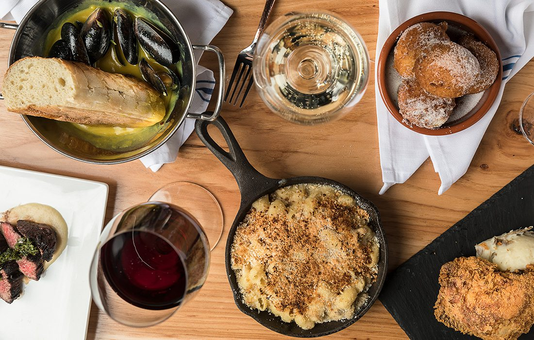 Queen City Wine Dive in Springfield MO offers delectable small plates including fried chicken, mac and cheese, hanger steak, mussels, corn fritters and, of course, wine on draft.