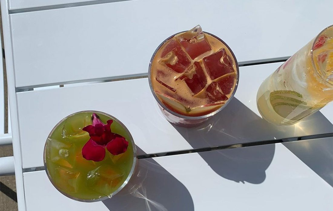New cocktails at RISE: Apricot Blossom, Early Harvest Punch and Lillet Spritz.