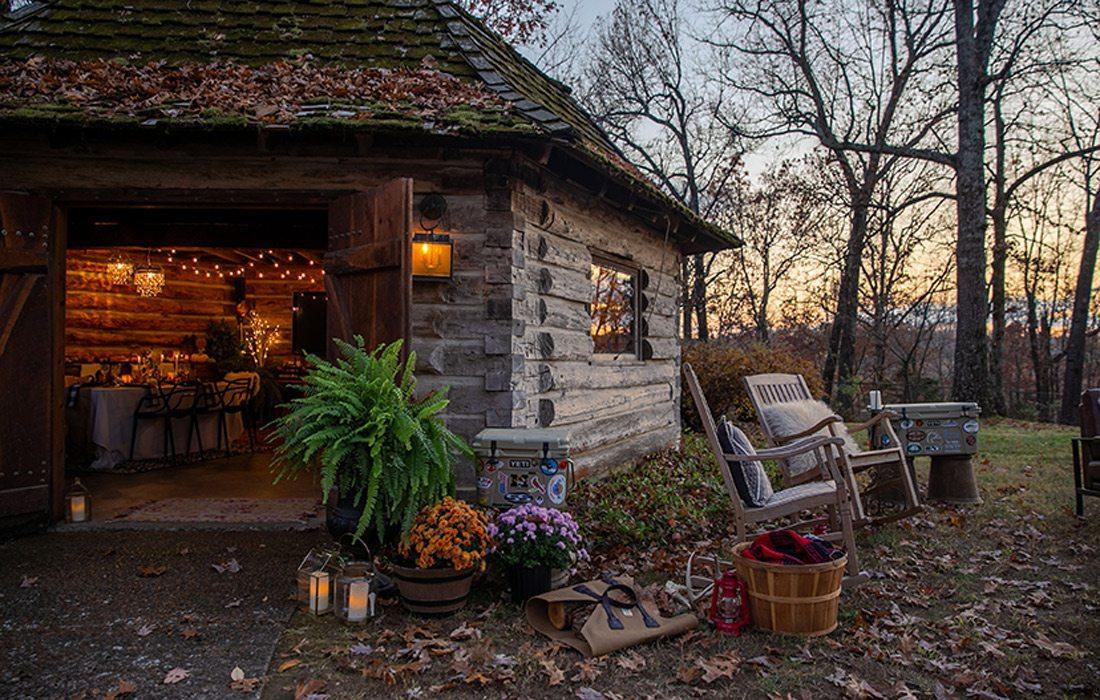 Yurt outside fall