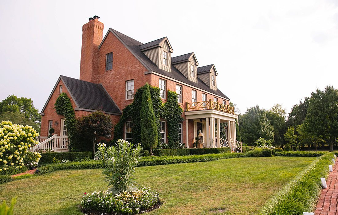 Exterior shot of the large home used for the bridal shower.