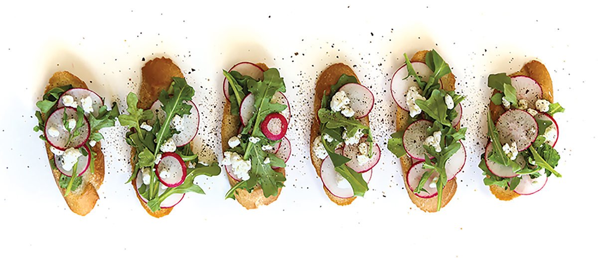Radish and Goat Cheese Toasts