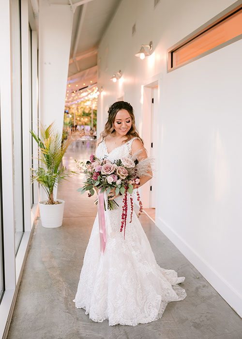 Bride Cindy Chao on her wedding day at Greenhouse Two Rivers