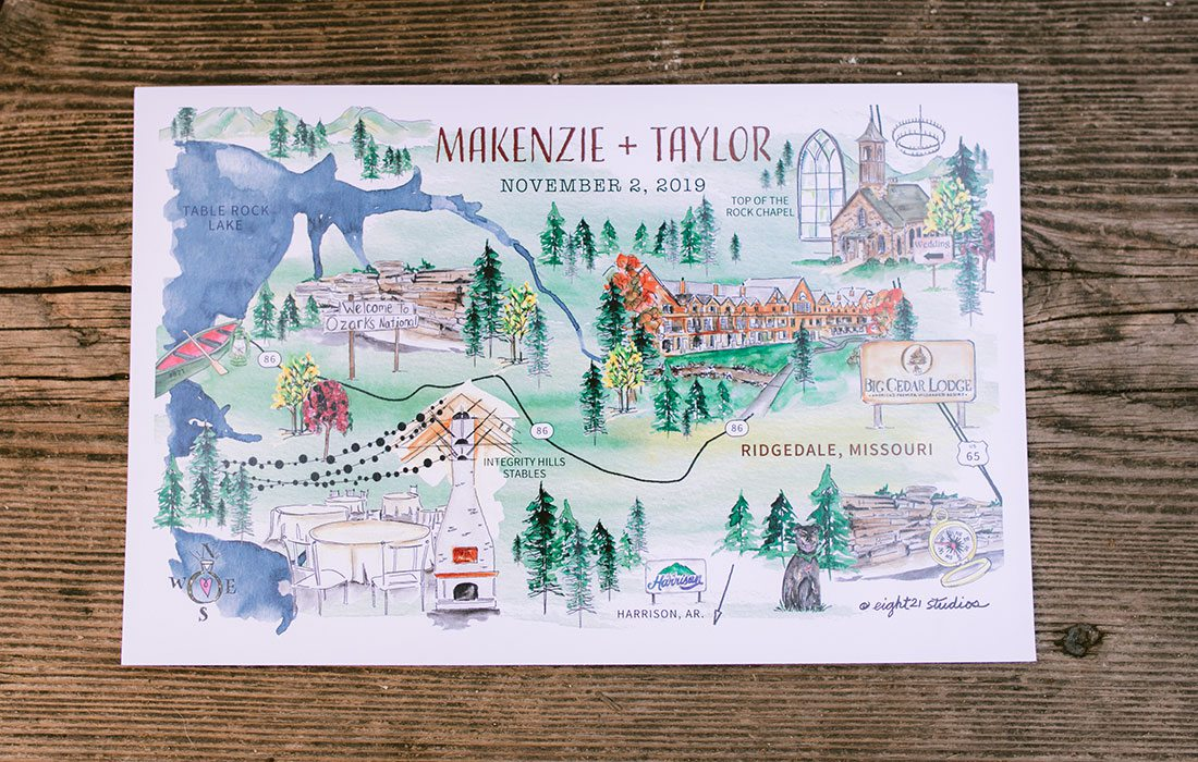 Personalized watercolor wedding invitation for Makenzie Moore & Taylor Lambke