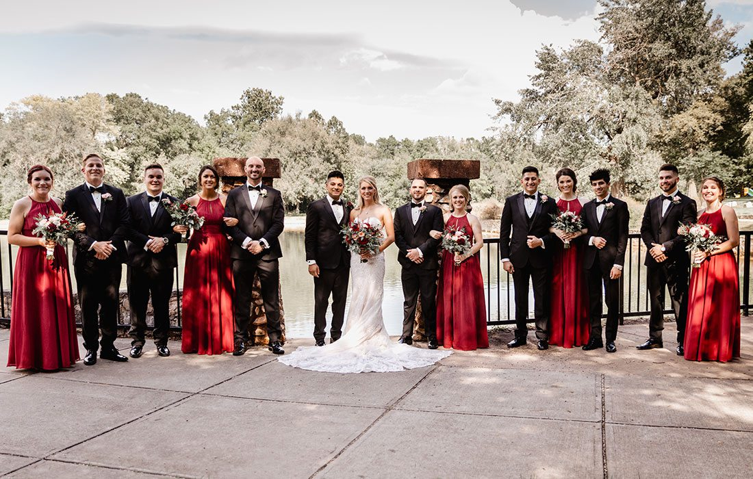 Shayan Cannefax & Jordan Duncan with their wedding party at the DoubleTree by Hilton in Springfield, MO