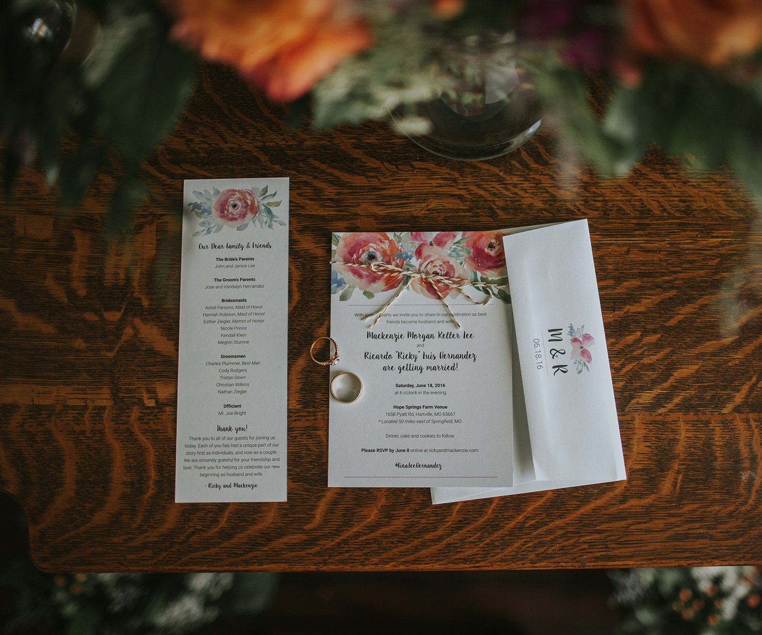 Mackenzie Lee & Ricky Hernandez wedding invitations