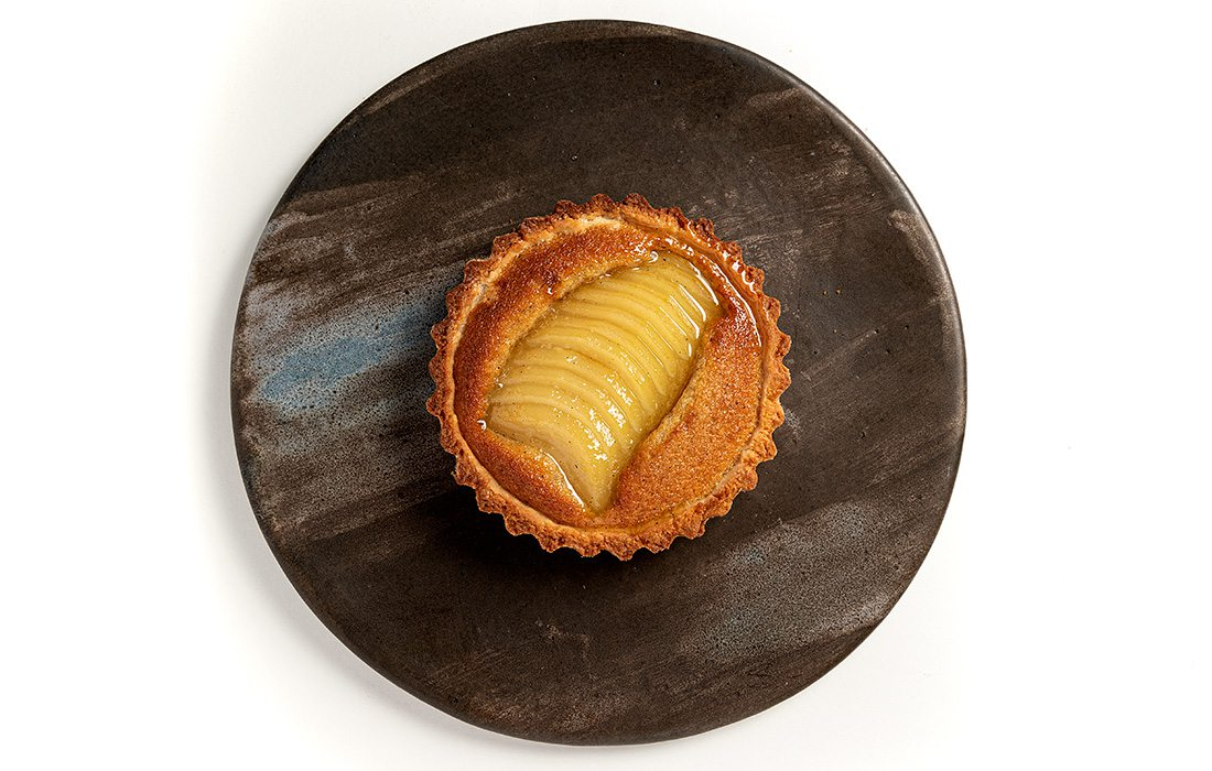 Brown Butter Riesling Poached Kieffer Pear Tart by Craig von Foerster of Harvest in Rogersville, MO