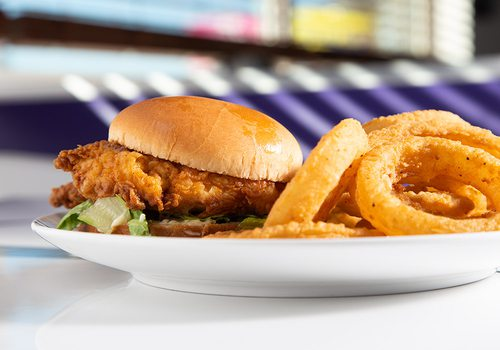 Crispy chicken sandwich and onion rings at Red's Giant Hamburg in Springfield MO